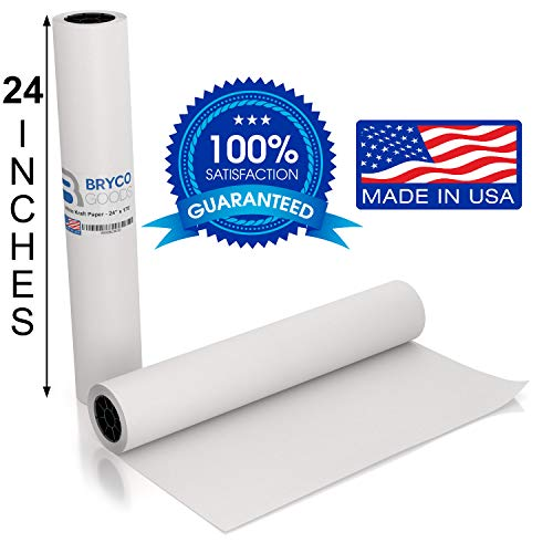White Kraft Arts and Crafts Paper Roll - 24 inches by 175 Feet (2100 Inch) - Ideal for Paints, Wall Art, Easel Paper, Fadeless Bulletin Board Paper, Gift Wrapping Paper and Kids Crafts - Made in USA