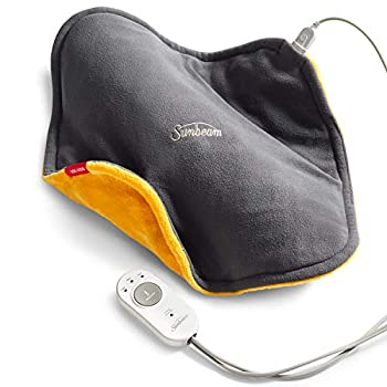 Sunbeam Heating Pad ConformHeat Lightly Weighted Conforming Heating Pad 14-Inch x 14-Inch Xpressheat Technology 3 Temperature Settings Beeswax/Gray 1 Count