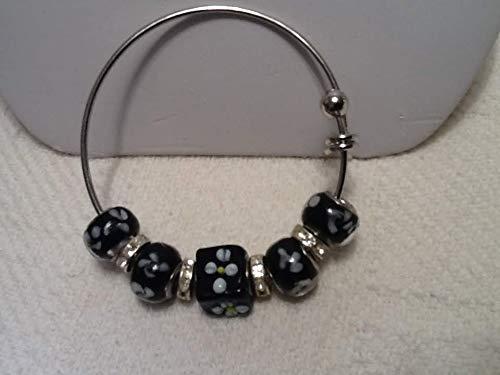 Black and white & Rhinestone Bangle interchangeable w/Pandora & Bella Perlina Bracelets