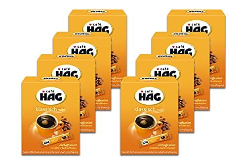 Café HAG Klassisch Mild Tassenportion, Instant Kaffee entkoffeiniert, löslicher koffeinfreier Kaffee, handliche Portionsbeutel, Vorratspack, 8er-Pack mit je 25 Kaffee Sticks (8x25x1,8g = 360g)