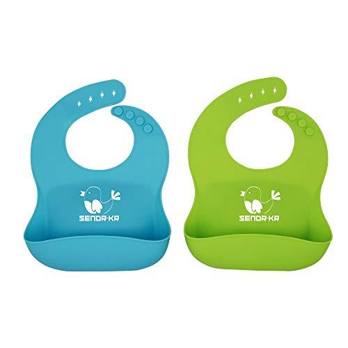 SENDR.KR Silikon Baby Lätzchen ,Wasserdicht Lätzchen Baby Lätzchen Abwaschbar Baby lätzchen aus Silikon 2er Set ,BPA frei, Abwaschbar & Leicht zu Reinigen, Spülmaschinenfest (Green&Blue)