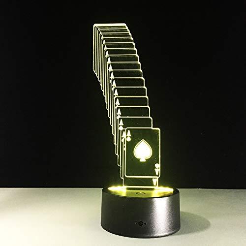 Lámpara de póquer USB LED 3D Decoración de mago 7 Cambio de color Rc Luz nocturna 3D Regalos de Navidad