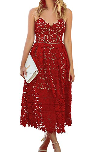 Alvaq Women's Sexy V Neck Sleeveless Lace Dress Red, Medium (Apparel)