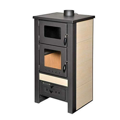 acerto 40565 Santo Holzofen - 8 kW - Kaminofen aus hochwertigem Stahl für Holz & Kohle - Indoor-Ofen zum Kochen & Backen (Creme)