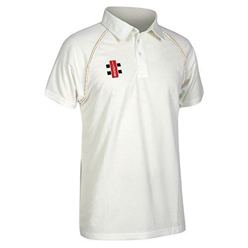 Gray Nicolls Mens Matrix Short Sleeve Cricket Shirt (L) (Ivory)