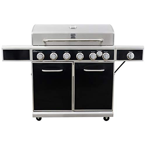 Kenmore PG-40602SRL-AM 6 Grill w Burner, Silk Screen Control Panel, Side Shelves, Black and Stainless Steel