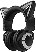 YOWU RGB Cat Ear Headphone 3G Wireless Bluetooth 5.0 Foldable Gaming Headset with 7.1 Surround Sound, Built-in Mic & Customizable Lighting and Effect via APP, Type-C Charging Audio Cable-Black