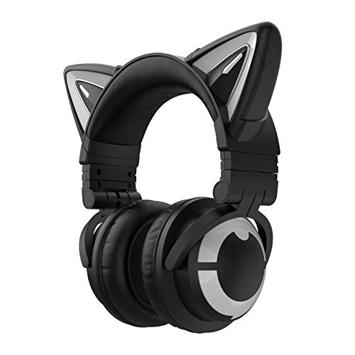YOWU Cat Ear Headphone 3G Wireless Bluetooth 5.0 Foldable Gaming Headset with 7.1 Surround Sound, Built-in Mic & Customizable Lighting and Effect via APP, 1.8m 2 in 1 Type-C Charging Audio Cable-Black