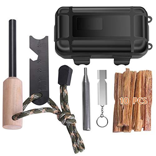 Suxman Feuerstahl, Outdoor Feuerstein Traditioneller Firesteel für Outdoor und Bushcraft Abenteuer, Feuer Werkzeug Set(6 Pack)