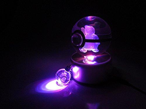 Beyond Pokemon Snorlax 3D Crystal Glass Pokeball LED Light Cosplay Replica Ball Prop & Free LED Pokemon Keychain Charm image