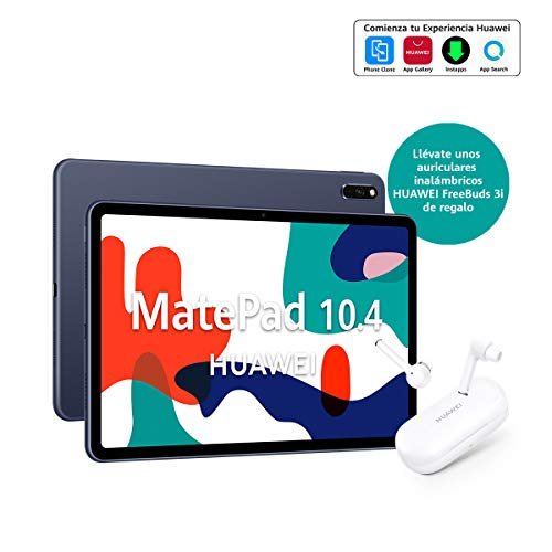 "HUAWEI MatePad 10.4 - Tablet con Pantalla FullView 10.4"" (WiFi, 4GB RAM, 64GB ROM, Altavoces cuádruples, HUAWEI Kirin 810 7nm, Batería de 7250 mAh), Color Gris + HUAWEI Freebuds 3i Blanco"