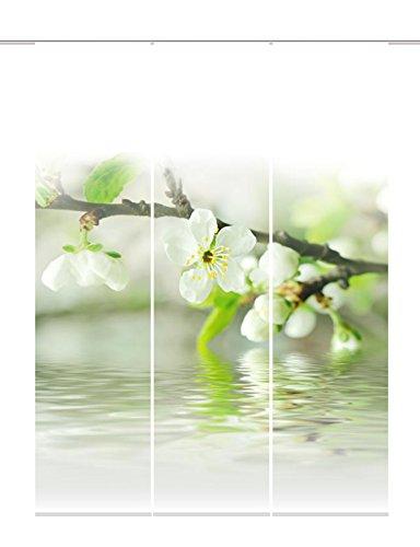 Home Fashion 88714-101 Cortina 3-Juego de Flores de Cerezo de Tela con impresión Digital, 100% de poliéster, 245 x 60 cm, Colour Blanco