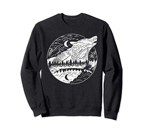 Tiermotiv Silhouette | Naturliebhaber | Wolfsilhouette Wolf Sweatshirt