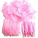 250 plumas naturales de colores llamativos para manualidades y atrapasueños, ideal para bodas, fiestas y decoración (3 tamaños) rosa claro