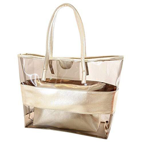 Trasparente in PVC nuoto Beach bag a tracolla Candy color semi-trasparente Stripe impermeabile cosmetici donna con piccole tasche Oro Golden small