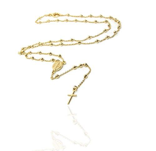 NALBORI Collana rosario uomo o donna in argento 925 palline 3mm croce liscia madonna miracolosa (oro giallo (dorato))