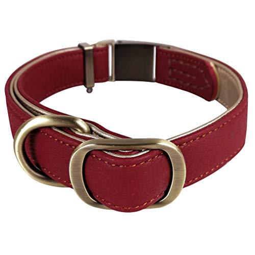 Penivo Collares de Cuero para Perros Grandes Hebilla de Metal Mascotas de Lujo Perros pequeños pequeños Collar clásico básico Ajustable (M (29cm-43cm), Rojo)