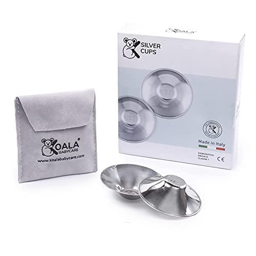 Coppette Paracapezzoli in Argento Trilaminato, prive di Nichel per la Prevenzione e Cura delle Ragadi al Seno durante l'Allattamento | Dispositivo Medico Classe 1 Koala Silver Cup