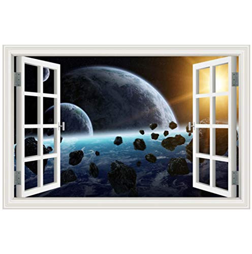 Outer Space Planet Galaxy Living Room Home Decor 3D Window Scenery Wall Sticker Home Decals Mural Art 40 * 60cm
