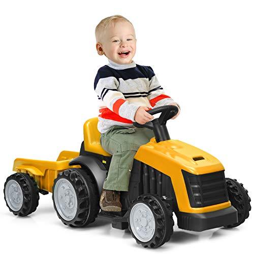 COSTWAY 6V Kinder Traktor mit abnehmbarem Anhänger, Elektro Traktor 2,5-3 km/h, 2-Gang Kinder Aufsitztraktor mit Vorwärts-/Rückwärtsschalter, geeignet für Kinder ab 2 Jahren (Gelb)