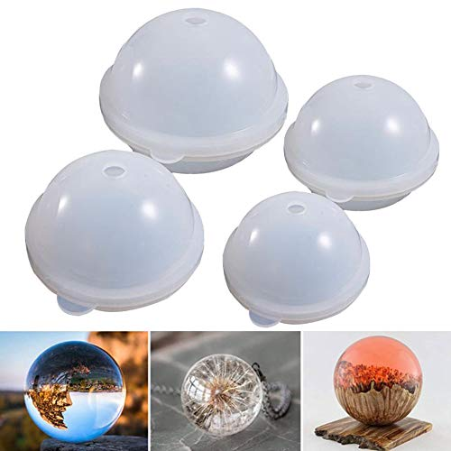 Resin Round Ball Moulds Sphere Silicone Jewellery Pendant DIY Candle Wax Making Necklace Epoxy Pendant DIY Dried Flower Casting Craft Reusable Hand Tool Supplies for Home (100mm)