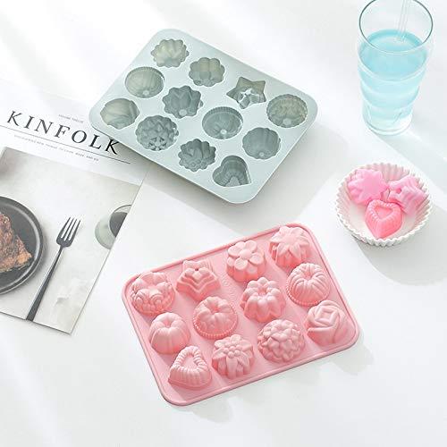 IUYT 12 même différents moules à gâteaux de Lune de Silicone en Forme de Fleur, moules à gâteaux en Silicone, moules à Savon Bricolage à la Main for la Saint Valentin (Color : 1PC Blue)