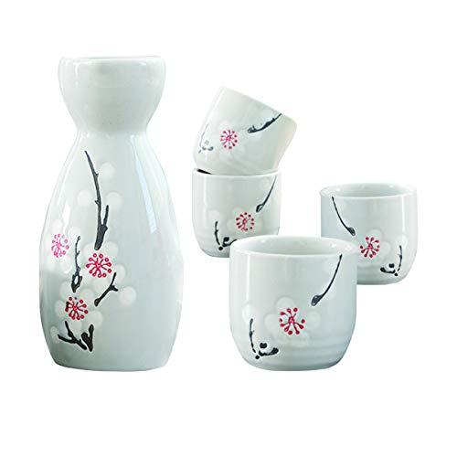 Liwien Sake Set Keramik,5-teilig Handbemalt Japanisch Kirschblüte Porzellan Sake Becher Warm Wein Topf Traditionelle Keramiktassen Weingläser Basteln Geschenk Weiß
