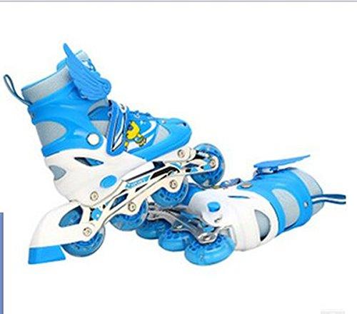 『ローラースケート 大人用/キッズ・子供用インラインスケート ローラーシューズ スポーツウェア 四輪発光 ブルーLJT1』の2枚目の画像