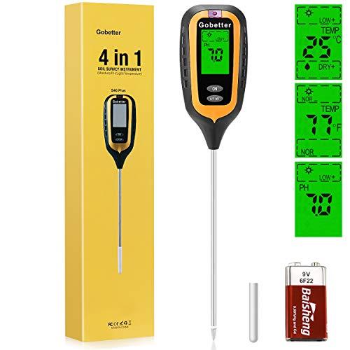 Gobetter 4-in-1 Soil Sensor Tester, Soil Moisture Hygrometer,PH,Light,Temperature For Plant Monitor In Garden, Lawn, Farm(Battery Included)