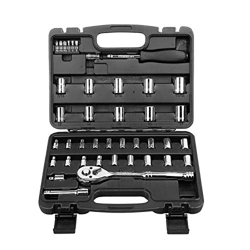 WESCO 1/4'' and 3/8'' Drive Socket Set, 30Pieces Sockets set with 72 Teeth Reversible Ratchet, Extension Bar, Bit Handle, Spark Plug Socket and 6 Screwdriver Bits/WS9966U
