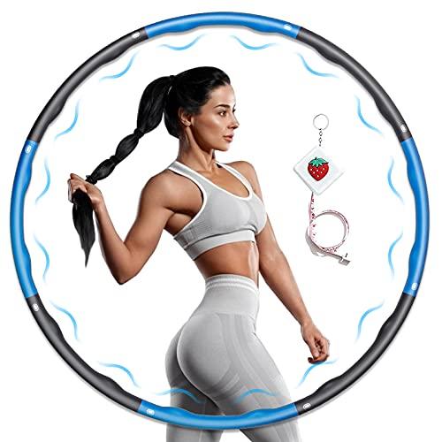 KOVEBBLE Hula Reifen für Erwachsene, Gewichteter Fitness Hoop Mit 8 Abnehmbaren Sektionen, Hulla Hoop Fitnesskreis zum Abnehmen Hula Übung Gym Workout Home