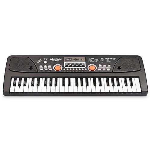 Aufladbare Kinder-Klaviertastatur, BETECHO 49 Keys Elektrische Kindertastatur für Kinder und Kinder mit Ladefunktion (Schwarz)