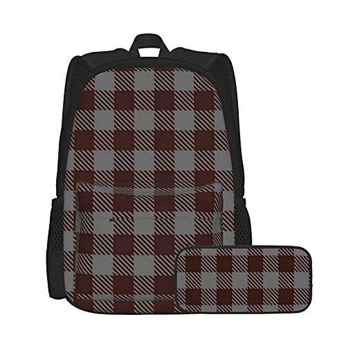 Conjunto de mochila y estuche para lápices, combinación, mochila de trabajo y estudio y bolsa de cosméticos, color burdeos, gris