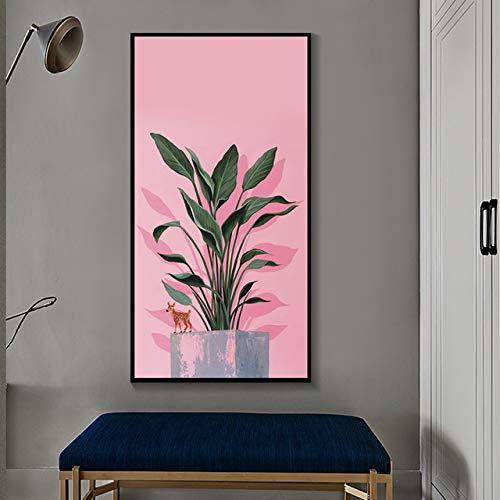 N / A Wohnzimmer mit frischen grünen Blättern und niedlichen Rehkitz Wandkunst Leinwand Malerei stilvolle Moderne Plakate und Drucke Rahmenlos 70x120cm
