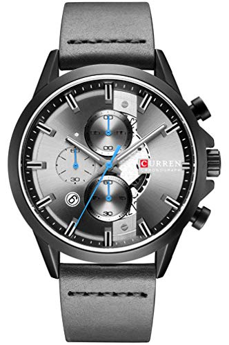 CURREN Fashion Men's Watch Luxury Quartz Watch Chronograph Men's Casual Military Watch Date Waterproof Leather Watch (Black Grey)