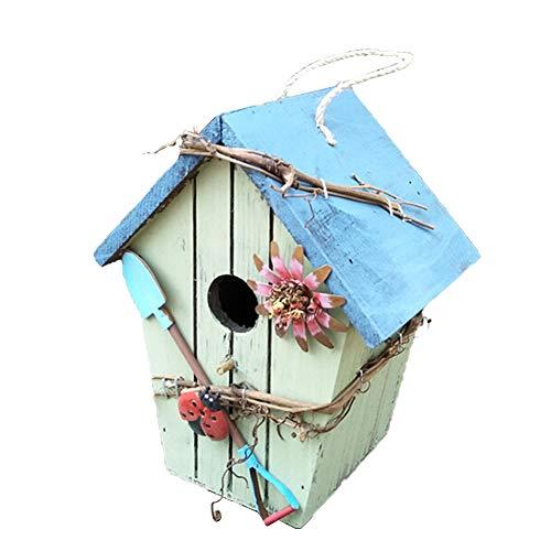 Vogelhaus aus Holz zum Aufhängen im Freien Vogelhaus Garten Dekoration 19,8 cm für Gruß Frühling Schmetterling und Blumen Willkommen Deko handbemalt Vogelhaus für draußen himmelblau