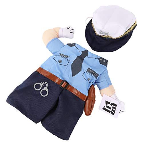 Balacoo Katze Polizei Kostüm Katze Uniform Polizist Outfits mit Hut Haustier Kostüme Verkleiden Outfit Kleidung Kleidung für Katze Hündchen - Größe M
