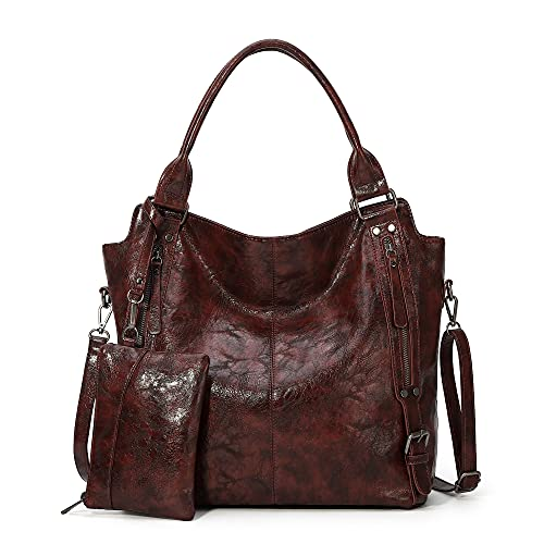Angel Kiss Fashion Hobo Handbags for Women Handbags Shoulder Tote Bags Ladies Crossbody Washed Leather Bag 2pcs Purse Set Kaffee