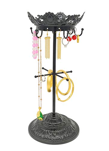 Owlgift Metal Crown Shaped Jewelry Tower Necklace Organizer Earrings Hanger Bracelet Display Tree Stand – Black