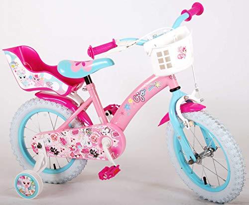 OJO Bicicleta Niña Chica 14 Pulgadas Ruedas Extraíbles la Cesta y Asiento Trasero de la Muñeca Rosa Azul 85% Montada