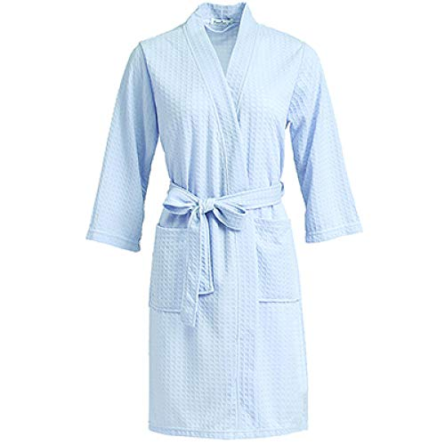 YRTHOR Amantes Toalla Bata Elegante, Hombres Mujeres Kimono Waffle Albornoz Ropa de Dormir Masculina Bata para Hombre Badjas Batas de Dama de Honor de Boda,Cielo Azul,XL