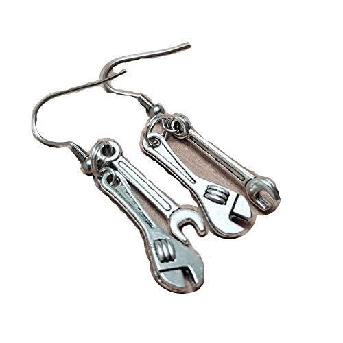 honggui 1111 - Pendientes de llave inglesa, llave de enchufe, pendientes de herramienta mecánica, pendientes de herramienta, pendientes de mujer