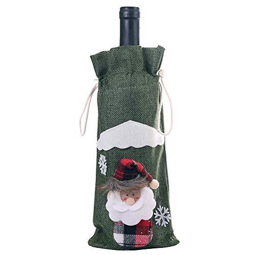 Weinflaschenabdeckung, handgefertigt, schwedische Tomte Zwerge, Weinflasche, Pulloveraufsatz für den Urlaub zu Hause, Weihnachtsdekoration, Weihnachtsgeschenke Grüner Weihnachtsmann