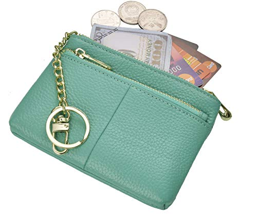 Beurlike Womens RFID Coin Purse Change Wallet Small Leather Card Holder Keychain (Teal)