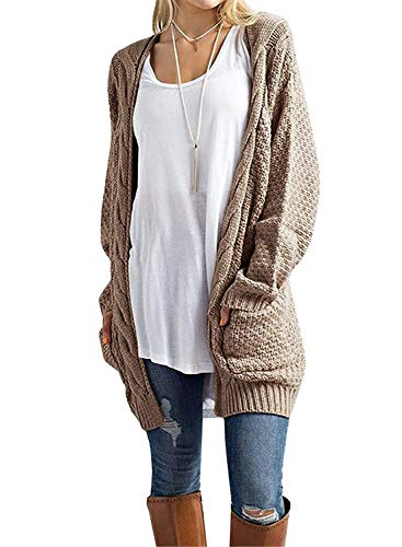 GRECERELLE Women's Loose Open Front Long Sleeve Solid Color Knit Cardigans Sweater Blouses with Packets Khaki-Large
