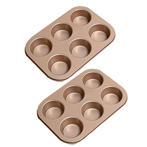 Bakvormen goedkoop, bakvormen Crown Muffin Pan, 6 wells, Anti-aanbak Quick Release Coating, Professionele Anti-aanbak Muffin Top Pan,Set of 2