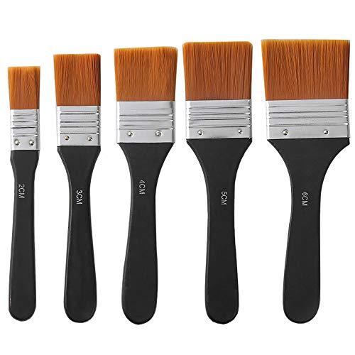 Lezed Farbpinsel Malerpinsel Flachpinsel Acryl Pinsel Ölfarben Bürste Aquarell Ölmalpinsel Pinselset Acrylfarben Lasurpinsel zum Malerei für Malerei-Ölmalerei oder auch als Werkzeugpinsel 5 Stück