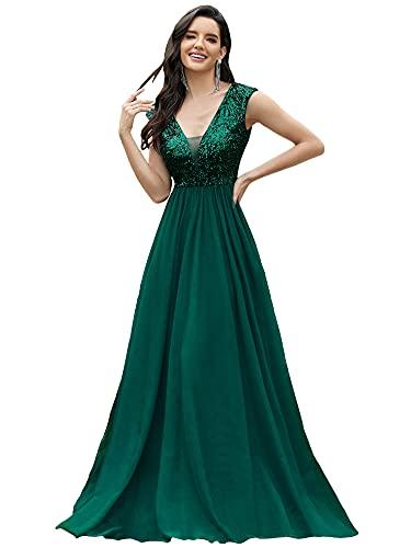 Ever-Pretty Women's V-Neck Sequin V-Neck Bridesmaid Dress Long Evening Dresses for Party Green US10