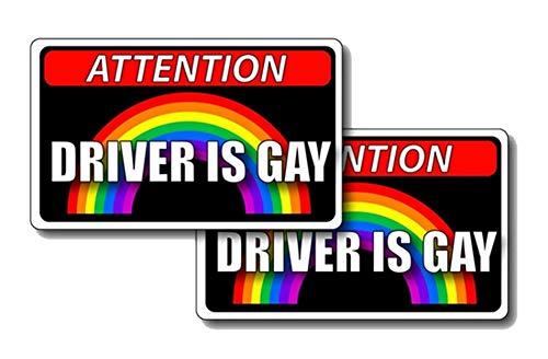 EROSPA® Auto-Aufkleber - Attention Driver Is Gay - 2 Stück - Rainbow Regenbogen - 11,4 x 6,7 cm - Car-Sticker - Gay Pride LGBT