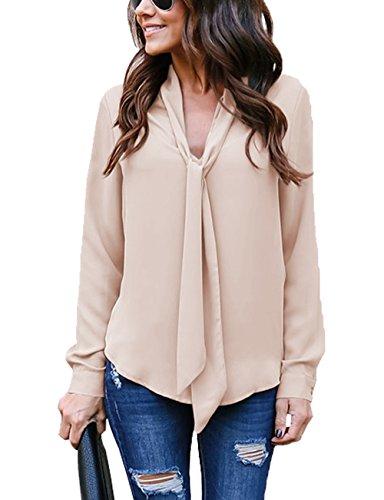 Cassiecy Damen Bluse Elegant Chiffon V-Ausschnitt Langarm Casual Oberteil Lose Langarmshirt V-Ausschnitt Vintage Tunika Hemd T-Shirt (L, Khaki)